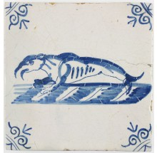 Antique Dutch Delft tile with a walrus, 17th century