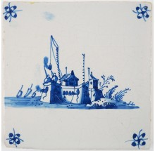 Antique Delft tile with a fortress near the sea firing canons, 18th century