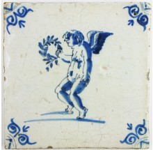 Dutch Delft tile depicting Cupid holding a laurel wreath