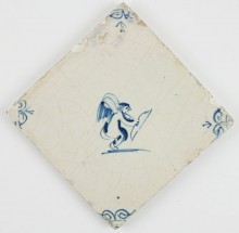 Antique Dutch Delft tile with Cupid and his bow depicted in a obliquely position, 17th century
