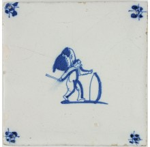 Antique Delft tile with Cupid rolling a hoop, 17th century