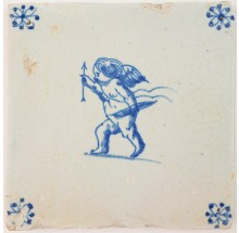 Antique Delft tile in blue with Cupid wielding his bow and arrow, 17th century