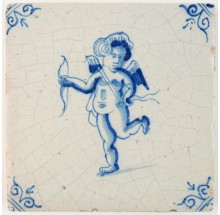Antique Delft tile with Cupid holding a bow and arrow, 17th century