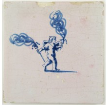 Antique Delft tile with Cupid holding two torches, 17th century