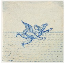 Antique Delft tile depicting Daedalus flying above the Aegean Sea, 17th century Rotterdam