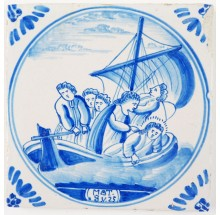 Antique Delft tile depicting Jesus being woken by the disciples, 19th century