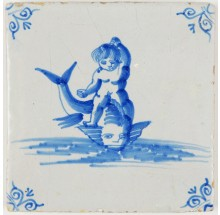 Antique Dutch Delft tile with putti on top of a dolphin with a human like face, 17th century