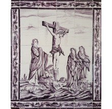 Antique Dutch tile mural with the crucifixion of Jesus, 18th century