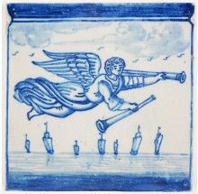 Antique Delft tile depicting Pheme (Greek mythology), early 18th century