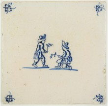 Antique Delft tile with two children celebrating Palm Sunday, 18th century