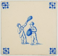 Antique Delft tile with two children playing with blown pig's bladders, 19th century