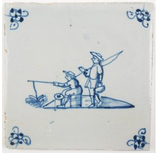 Antique Delft tile in blue with two fishermen, 18th century