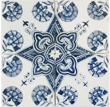 Antique Dutch Delft wall tiles in blue with Dianthus flower ornamental pattern, 18th century