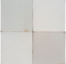 Original antique Dutch Delft plain white wall tiles with aged features, 18th and 19th century