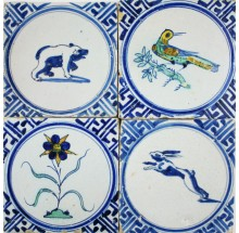 Exclusive field of 17th century polychrome Dutch Delft wall tiles with all kinds of animals and flowers in Wanli
