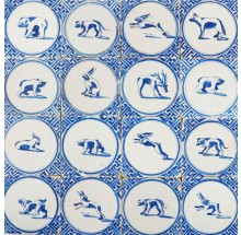 Antique Delft wall tiles in blue with large animals in a circle and Wanli inspired corner motifs, 17th century