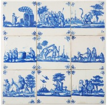 Set of nine antique Delft Biblical tiles in blue depicting different scenes, 17th century Rotterdam