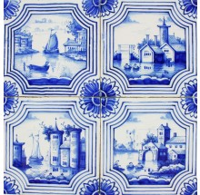 Antique Dutch Delft wall tiles in blue with maritime and landscape scenes, late 19th century