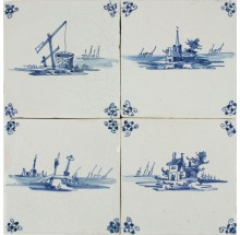 Antique Dutch Delft wall tiles with landscapes in blue, 17th century