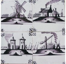 Antique Dutch Delft landscape wall tiles in manganese with typical Dutch scenes, 19th century