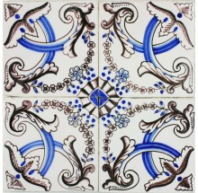 Antique Dutch Delft ornamental wall tiles with Flower Bow motifs, 19th century
