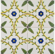 Antique Delft ornament wall tiles with polychrome flowers and leaves, 19th century