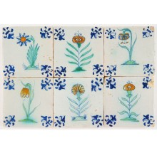 Set of six small sized antique Delft wall tiles with polychrome flowers, 17th century
