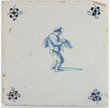 Antique Delft tile in blue with a beggar, 17th century