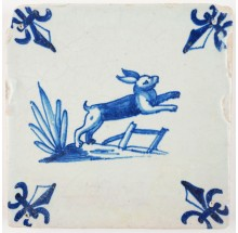 Antique Delft tile in blue with hare jumping over a fence, 17th century