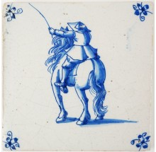Antique Delft tile with a horse rider in blue, 17th century