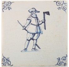 Antique Delft tile depicting a carpenter with an axe, 17th century