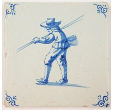 Antique Delft tile with a chimney sweeper, 17th century