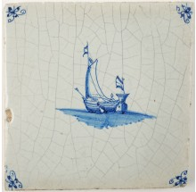 Antique Delft tile in blue with a ship under sail, 17th century