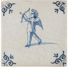 Antique Delft tile in blue depicting Cupid about to fire his bow and arrow, 17th century