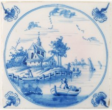 Antique Delft landscape tile in blue depicting a man in a rowing boat near a typical Dutch coastal village, 18th century