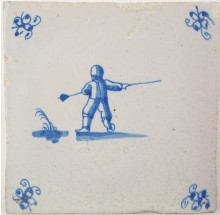 Antique Delft tile with a man using a pole to jump across a ditch, 17th century