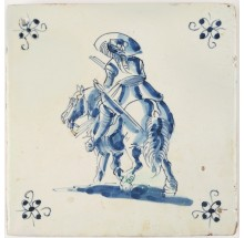 Antique Delft tile with a man riding his horse at a calm pace into the sunset, 17th century