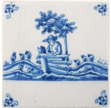 Antique Delft tile in blue with a shepherd watching his herd of sheep, 18th century