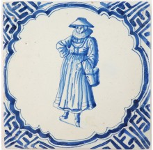 Antique Delft tile depicting a wealthy woman during the Dutch Golden Age, 17th century