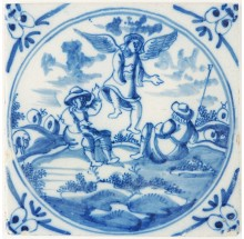 Antique Delft tile depicting the Biblical scene in which the angels announce the birth of Jesus, 18th century
