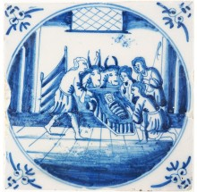Antique Delft tile depicting baby Jesus in the manger, 18th century