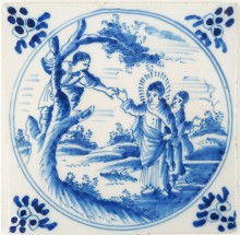 Antique Delft tile with Jesus calling Zacchaeus to get down from the three, 19th century