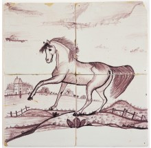 Antique Delft tile mural in manganese with a prancing horse in a Dutch landscape, late 18th/early 19th century
