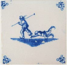 Antique Delft tile depicting two figures skating and slipping on ice, 18th century