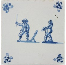 Antique Delft child's play tile with children playing a game of 'Klinkaert', 17th century