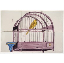 Antique Delft tile mural depicting a manganese bird cage with a yellow canary, late 18th century