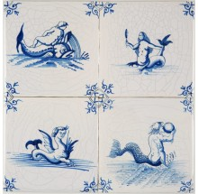 Custom hand-painted Delft wall tiles with sea creatures