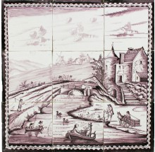 Antique Dutch tile mural with boats and village