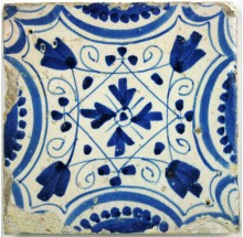 Antique Dutch Delft ornamental tile
