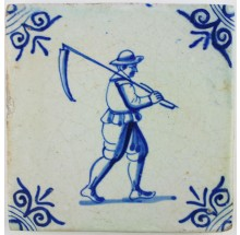 Dutch Delft tile depicting a farmer carrying a scythe
